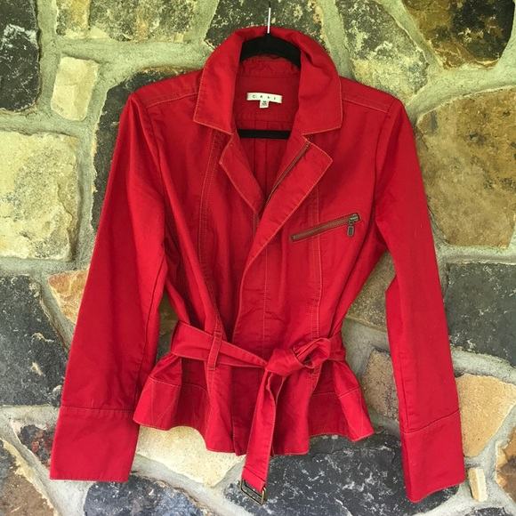 CAbi Jackets & Blazers - Red CAbi bomber trench canvas jacket